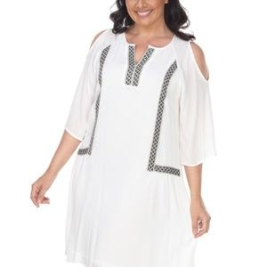 Plus Size White Short Sleeves Dress PS863-03